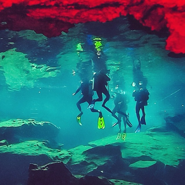Into the deep dark we go...Scuba diving in the underground cenotes with @funforlouis @vagabrothers ? #mexico #adventure #scuba #caves #canyoucancun
