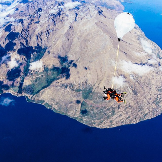 Happy 12.13.14 everyone! Hope you are celebrating accordingly. ? ✈️☁️. Queenstown, New Zealand. (Actually taken in 2012, but shhh) skydiving #skydivenz #newzealand #queenstown #epic #mountains